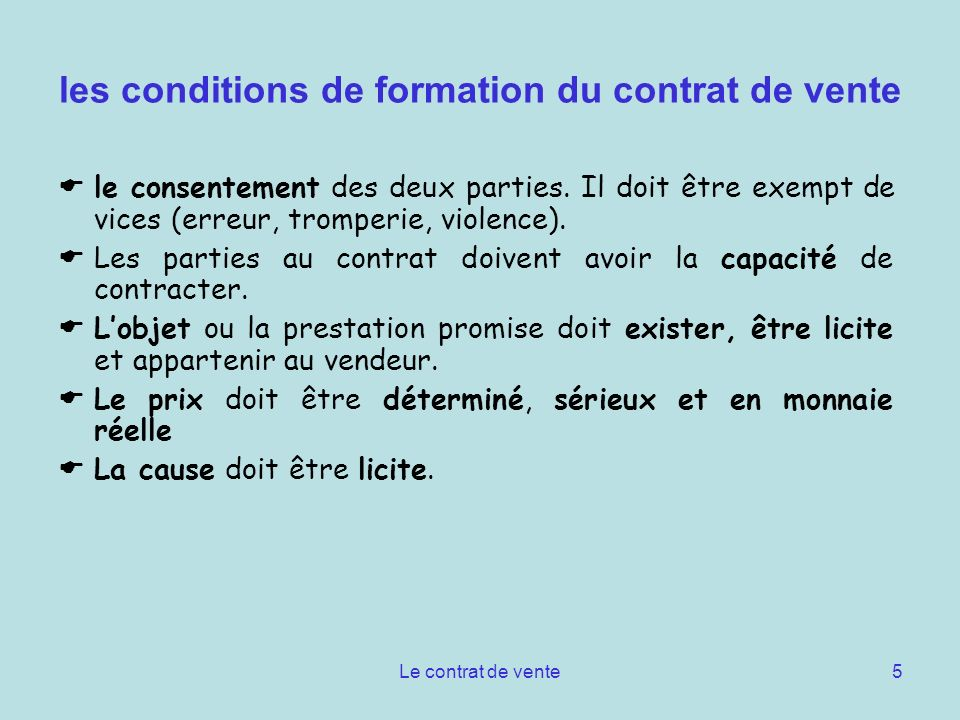 les conditions de formation du contrat de vente