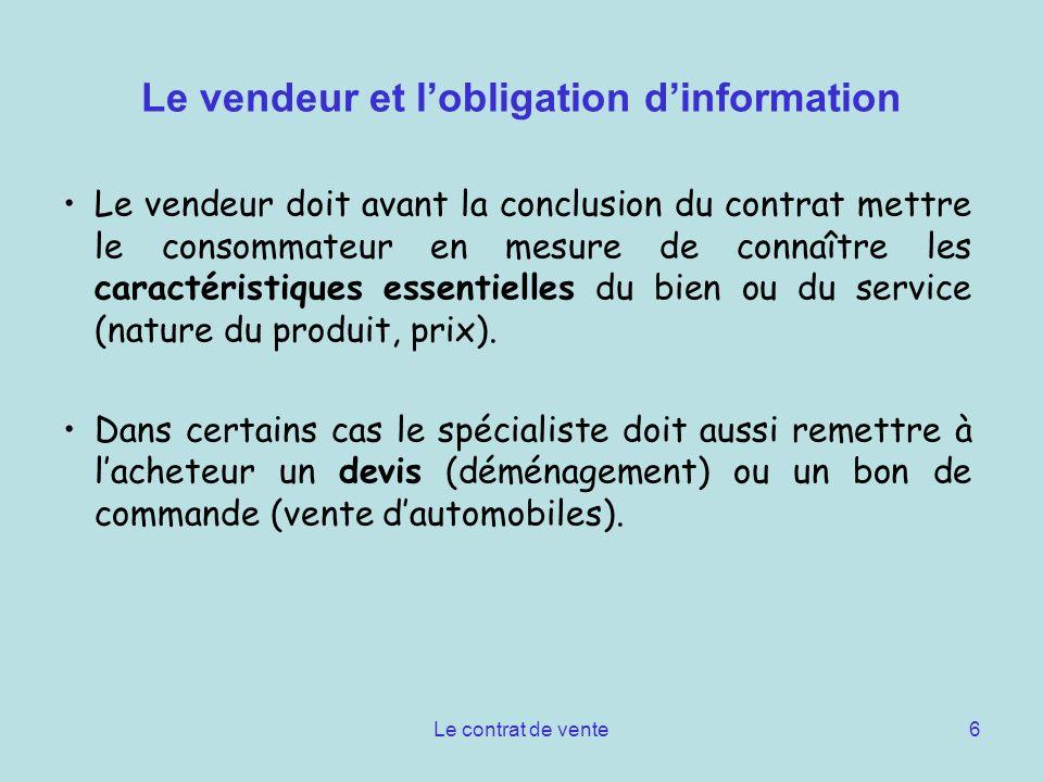 Le vendeur et l'obligation d'information