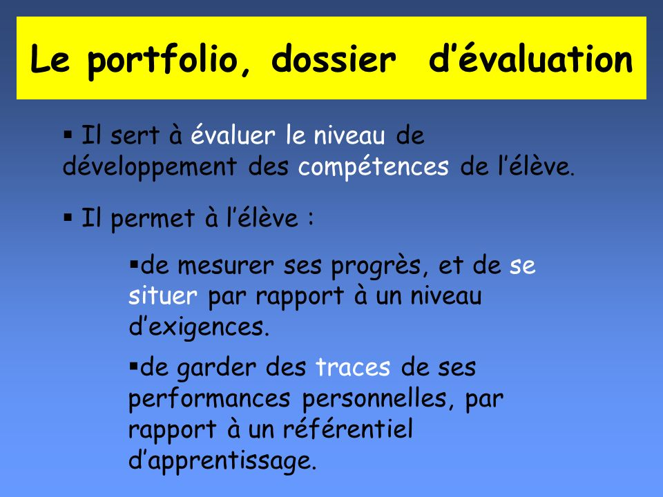 Le portfolio, dossier d'évaluation