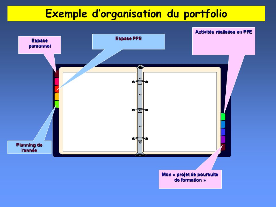Exemple d'organisation du portfolio