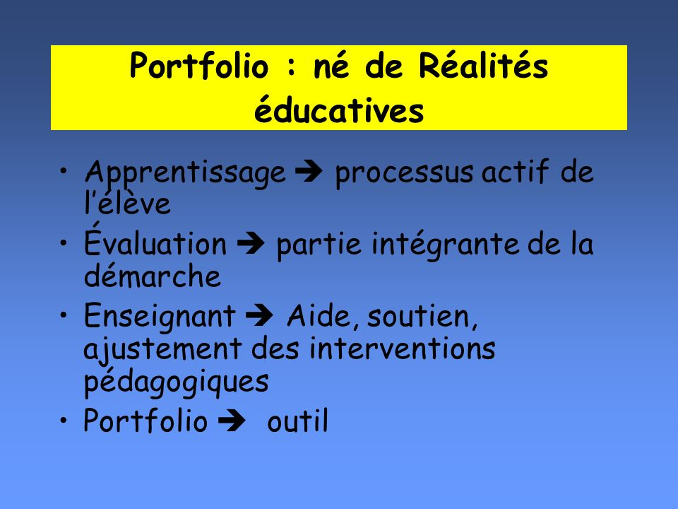 Portfolio : né de Réalités éducatives