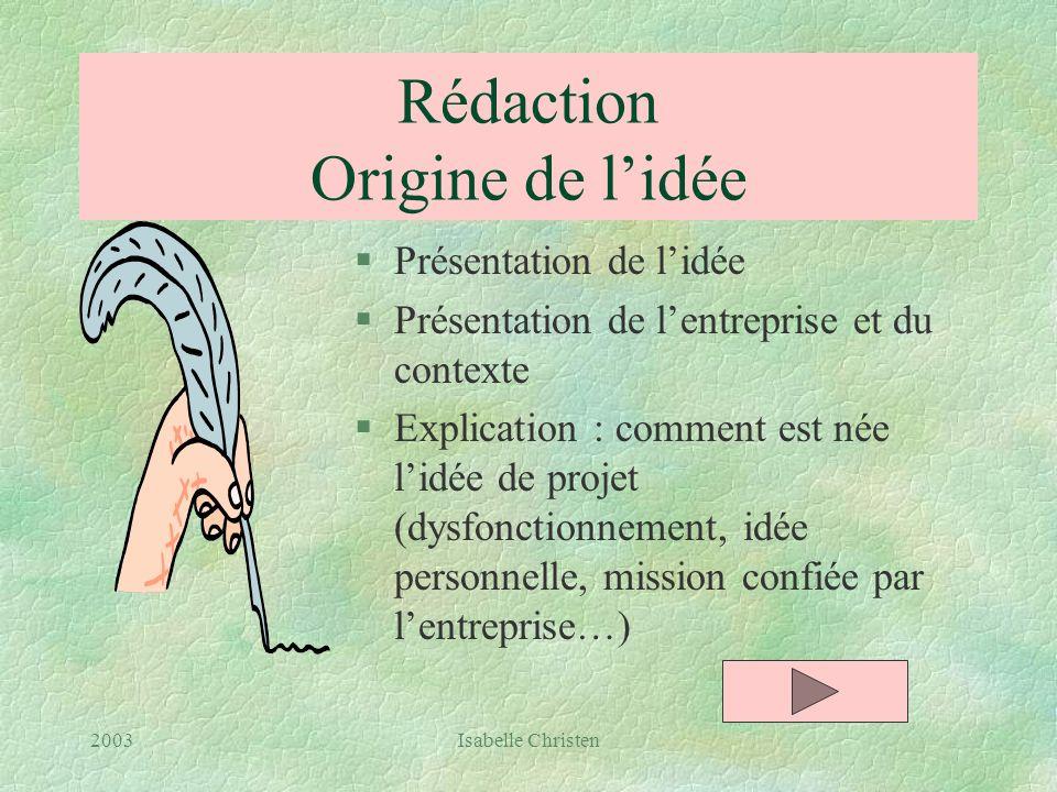 Rédaction Origine de l'idée