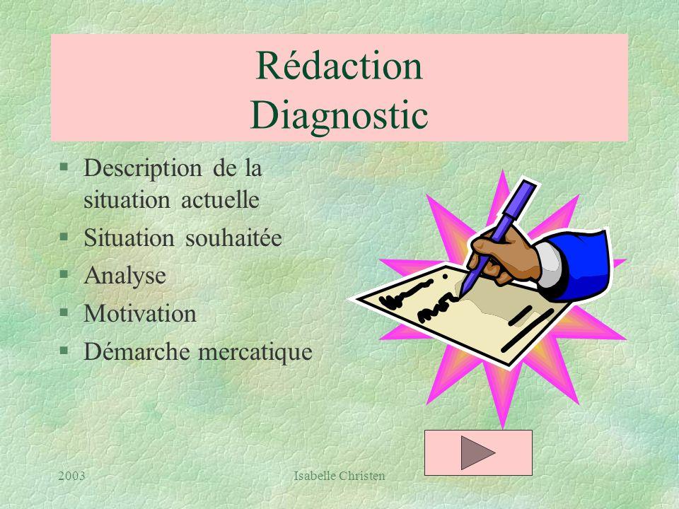 Rédaction Diagnostic Description de la situation actuelle