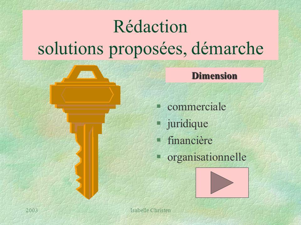 Rédaction solutions proposées, démarche