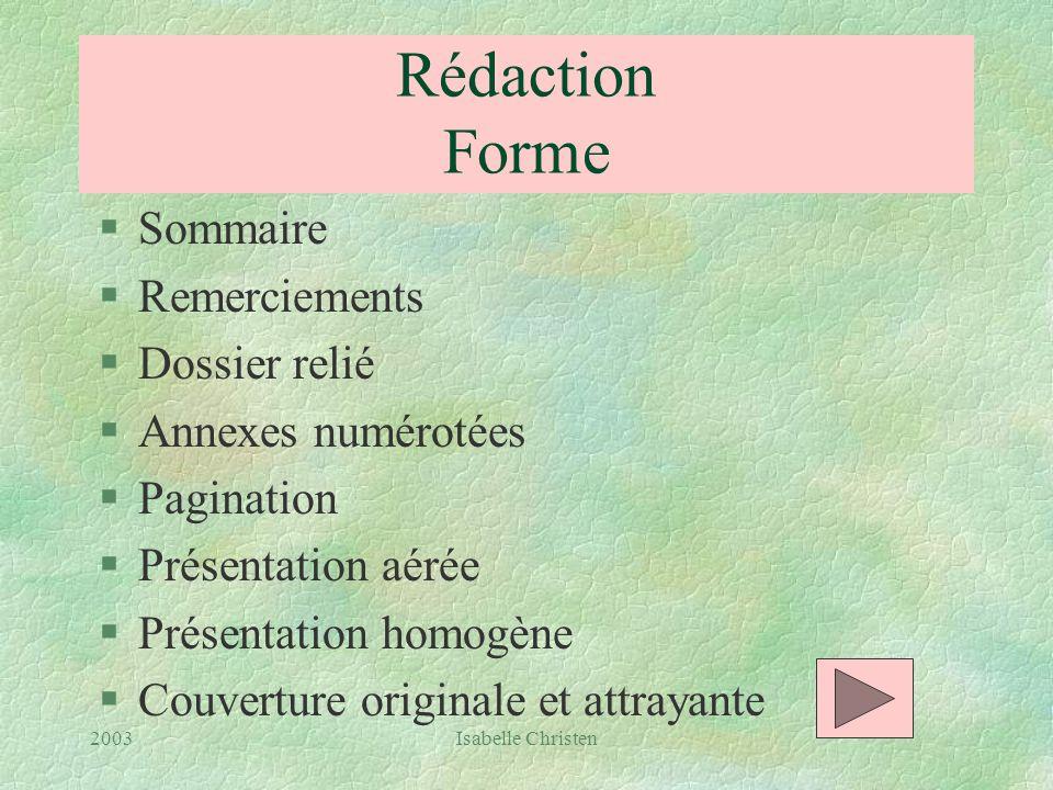 Rédaction Forme Sommaire Remerciements Dossier relié