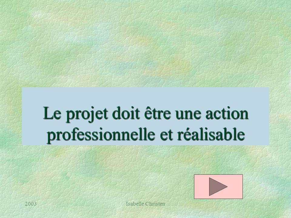 Le projet doit être une action professionnelle et réalisable