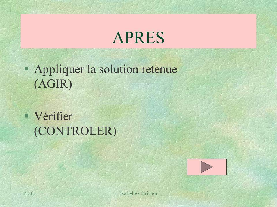 APRES Appliquer la solution retenue (AGIR) Vérifier (CONTROLER) 2003