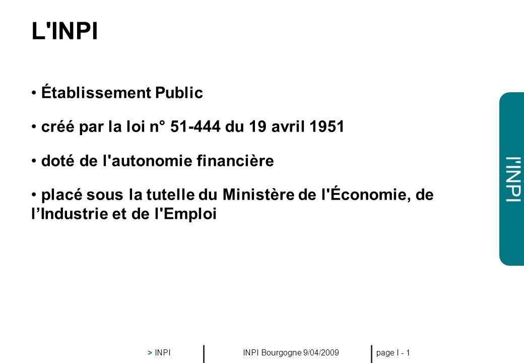 L INPI Établissement Public créé par la loi n° 51-444 du 19 avril 1951