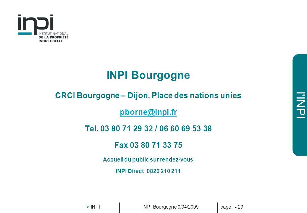 INPI Bourgogne CRCI Bourgogne – Dijon, Place des nations unies