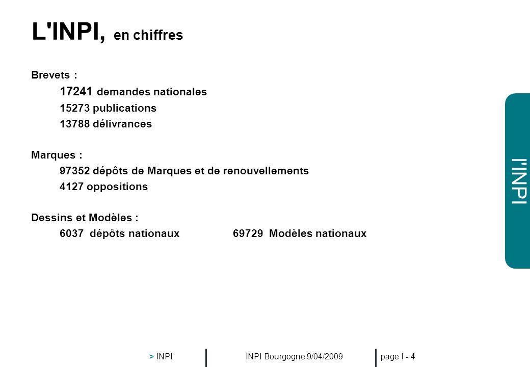 L INPI, en chiffres Brevets : 17241 demandes nationales