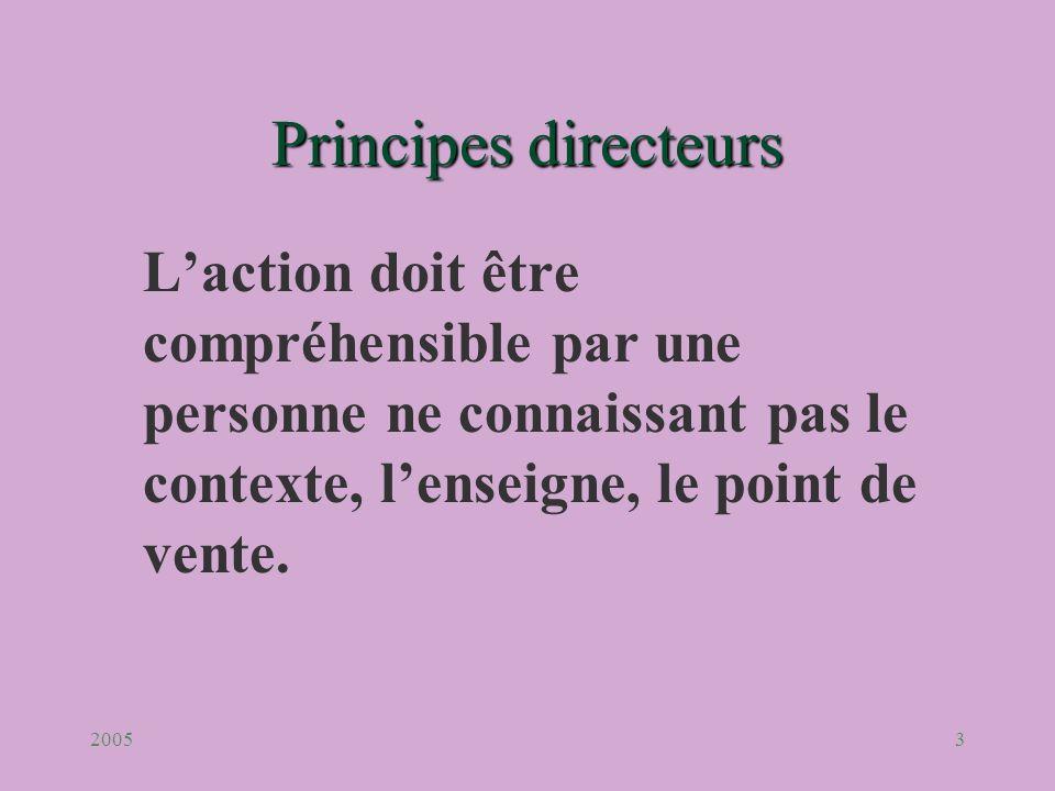 Principes directeurs L'action doit être compréhensible par une personne ne connaissant pas le contexte, l'enseigne, le point de vente.