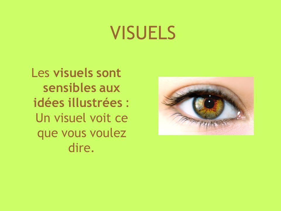 VISUELS Les visuels sont sensibles aux idées illustrées : Un visuel voit ce que vous voulez dire.