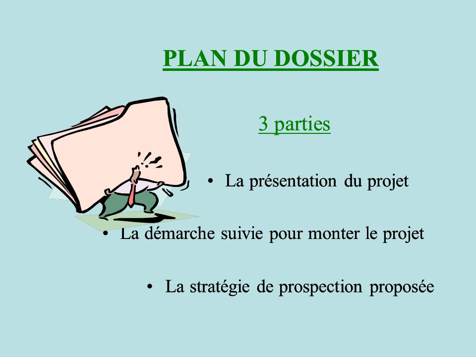 PLAN DU DOSSIER 3 parties PLAN DU DOSSIER 3 parties