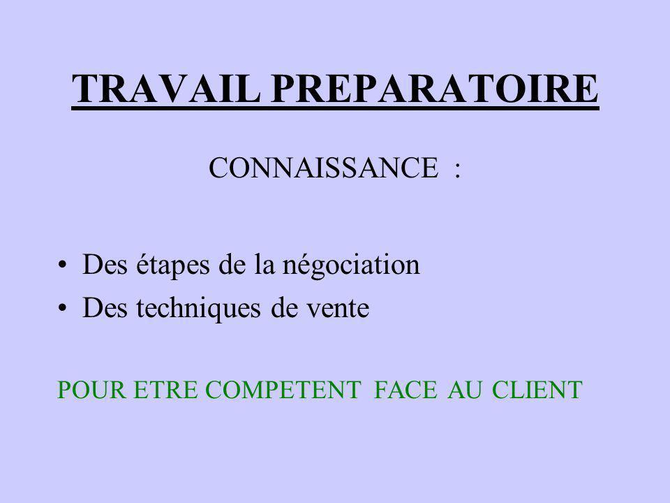 TRAVAIL PREPARATOIRE CONNAISSANCE : Des étapes de la négociation