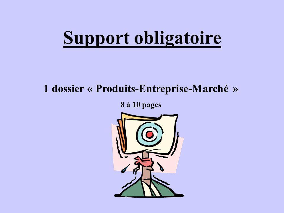 1 dossier « Produits-Entreprise-Marché »