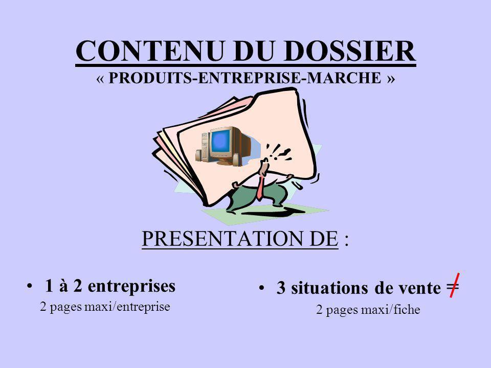 CONTENU DU DOSSIER « PRODUITS-ENTREPRISE-MARCHE » PRESENTATION DE :