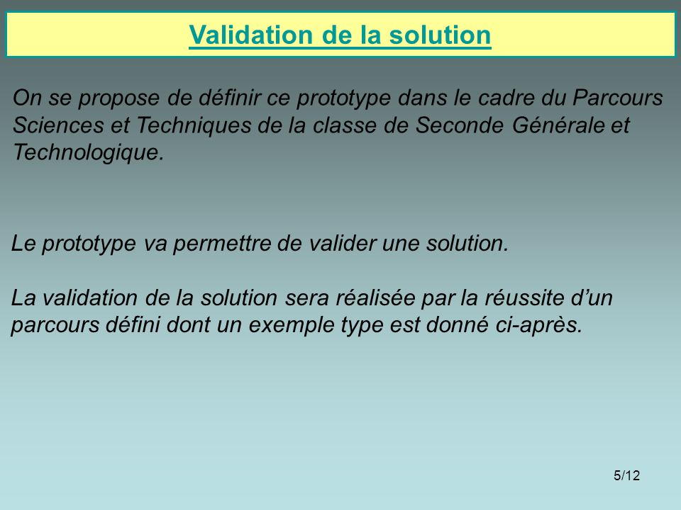 Validation de la solution