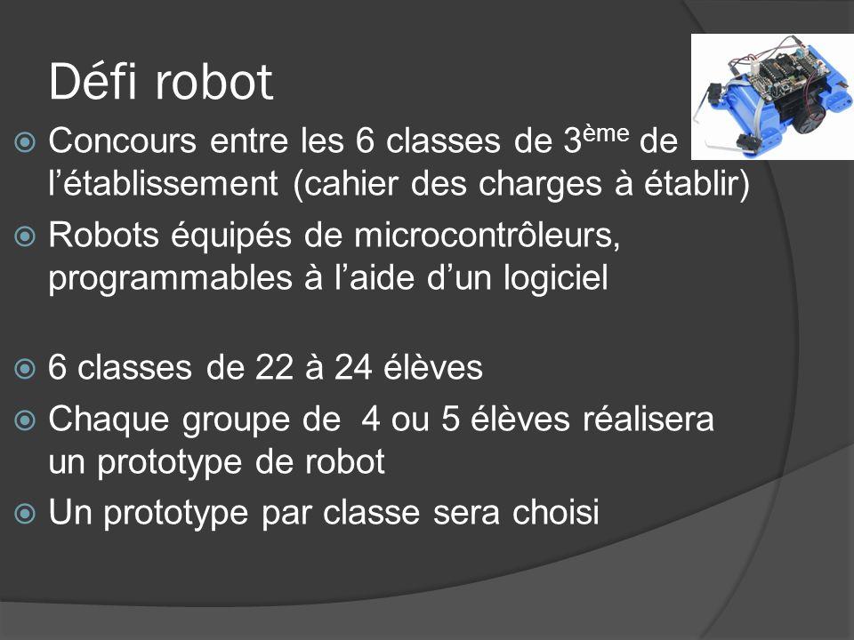 Défi robot Concours entre les 6 classes de 3ème de l'établissement (cahier des charges à établir)