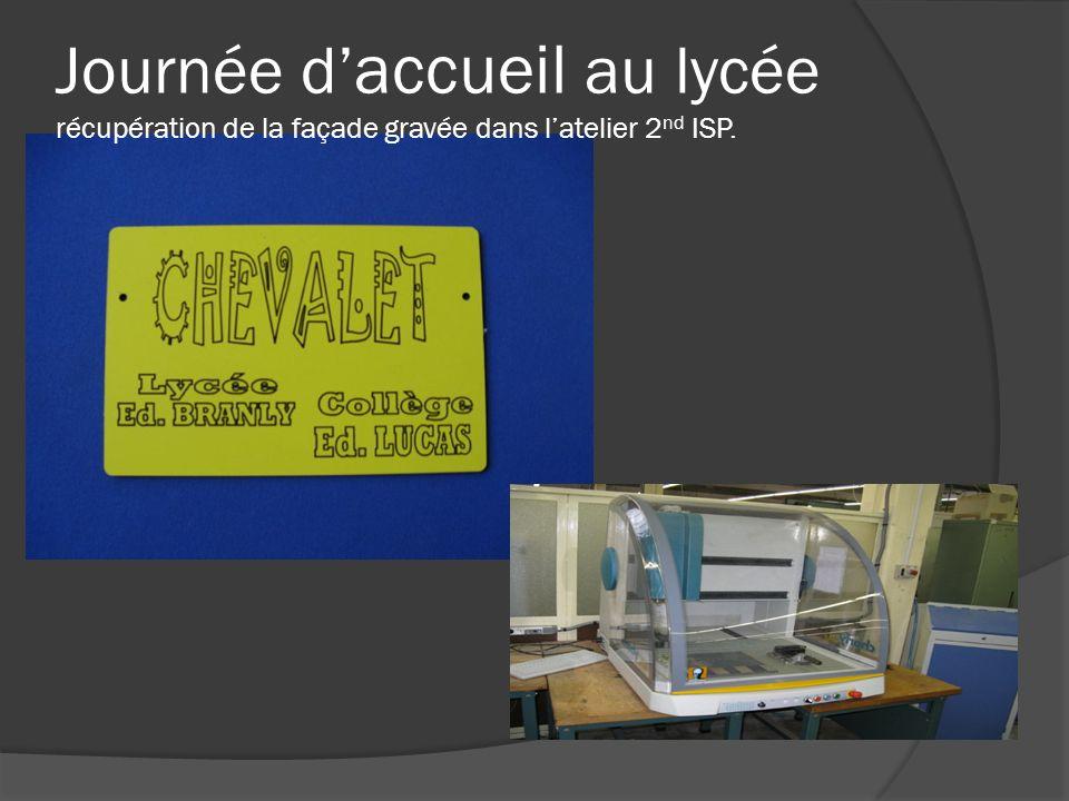 Journée d'accueil au lycée récupération de la façade gravée dans l'atelier 2nd ISP.