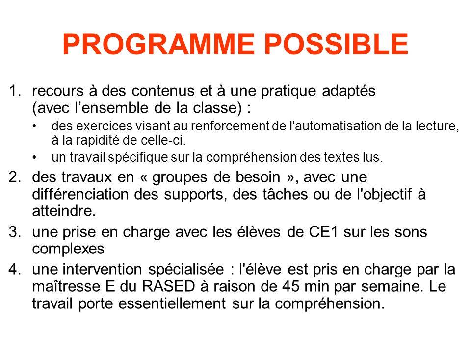 PROGRAMME POSSIBLE recours à des contenus et à une pratique adaptés (avec l'ensemble de la classe) :