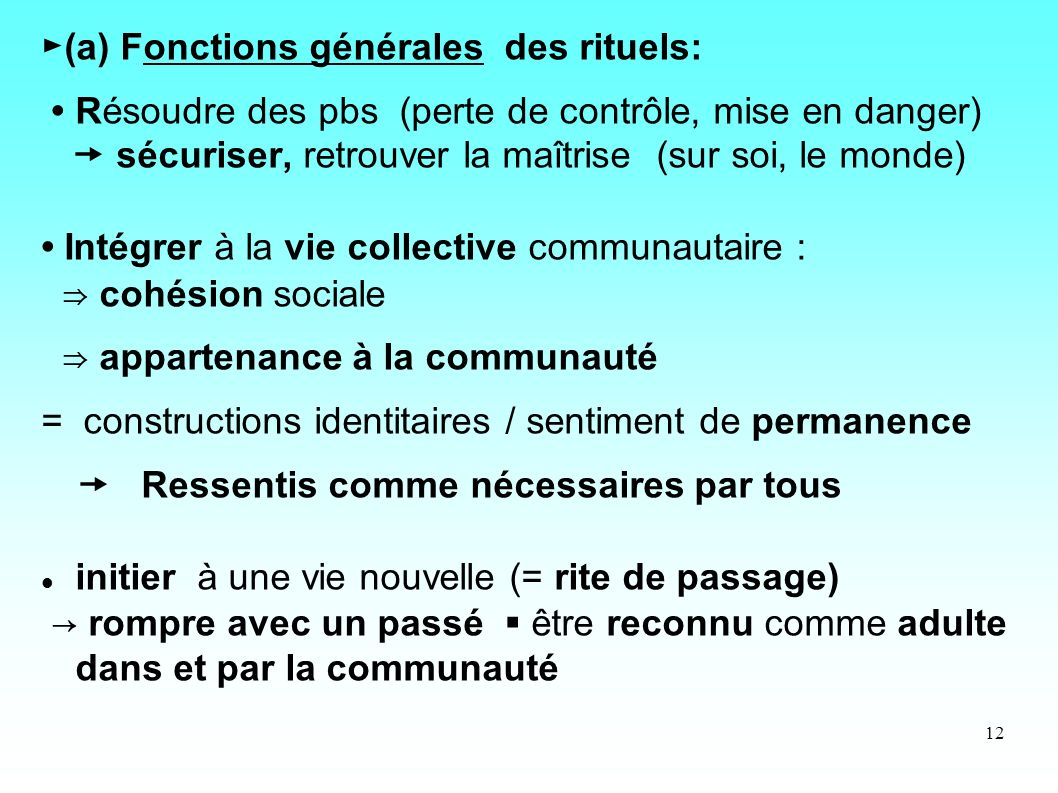►(a) Fonctions générales des rituels: