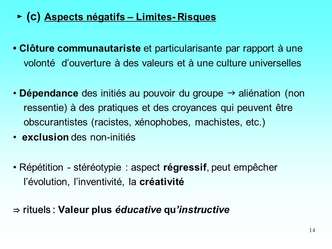 ► (c) Aspects négatifs – Limites- Risques