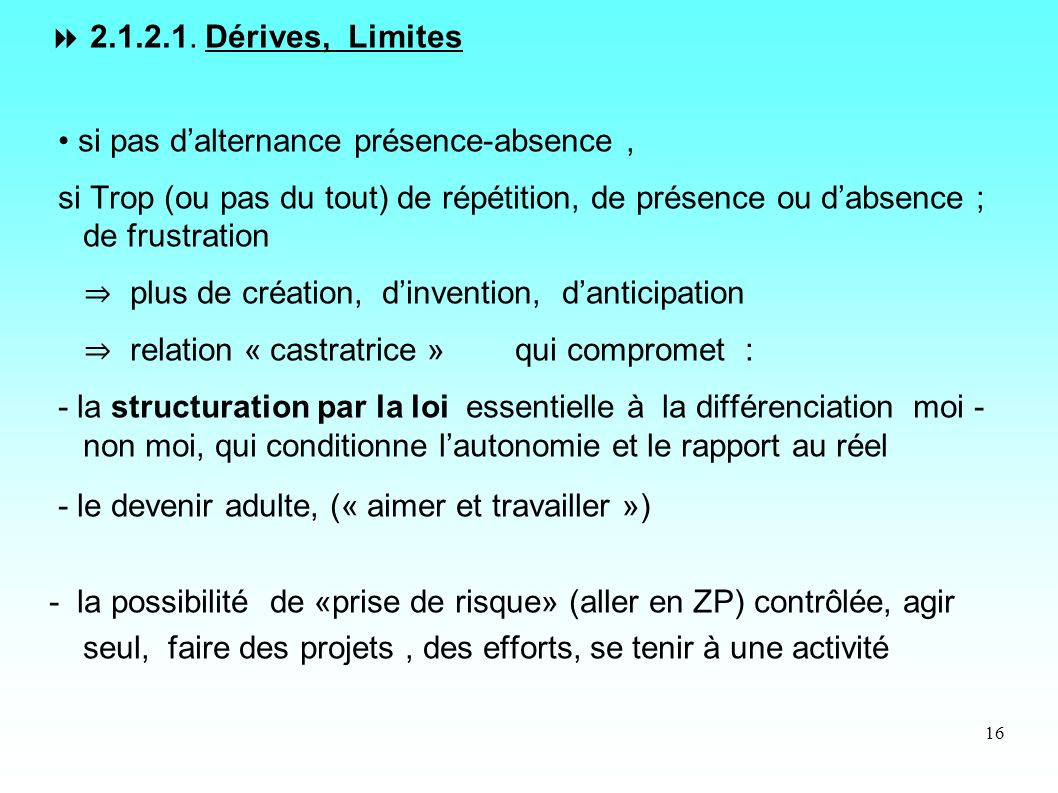 2.1.2.1. Dérives, Limites • si pas d'alternance présence-absence ,