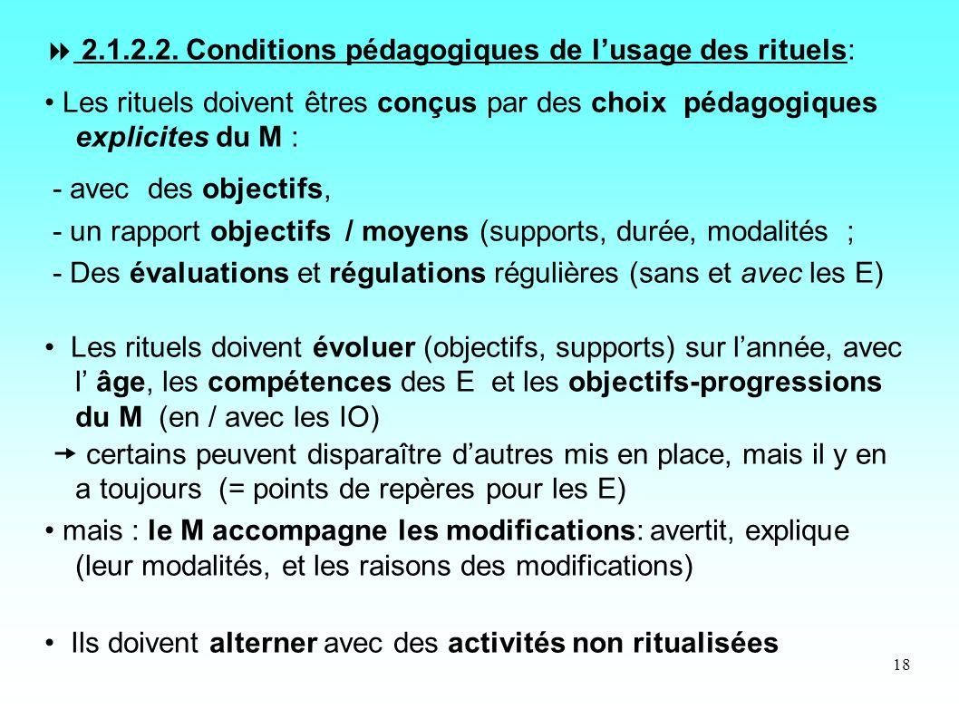  2.1.2.2. Conditions pédagogiques de l'usage des rituels: