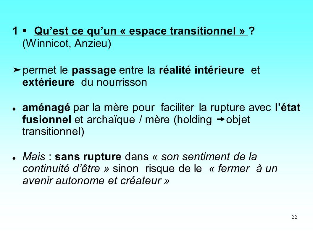 1  Qu'est ce qu'un « espace transitionnel » (Winnicot, Anzieu)