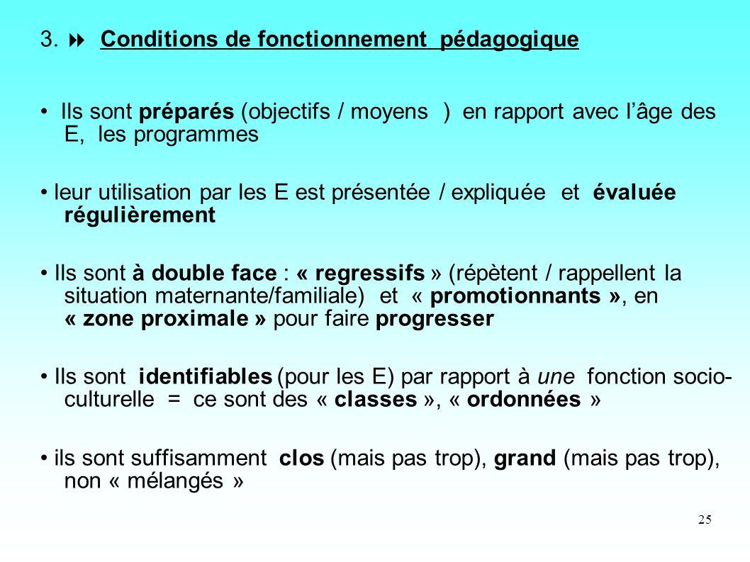 3.  Conditions de fonctionnement pédagogique