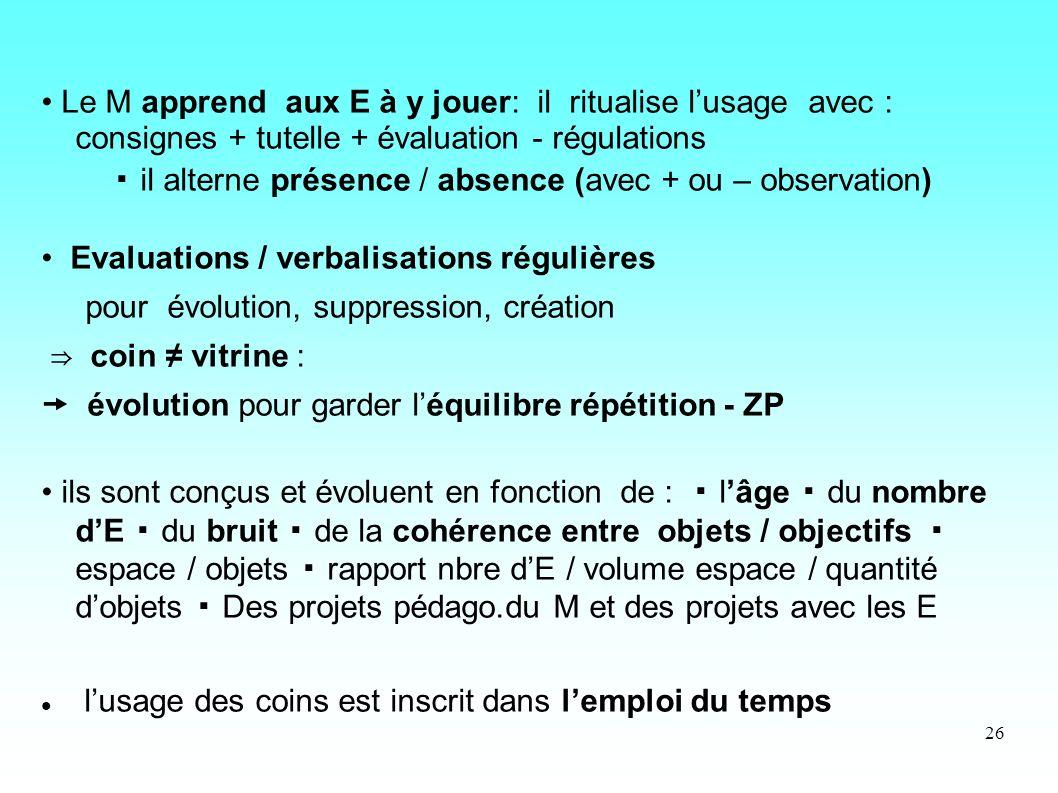 • Le M apprend aux E à y jouer: il ritualise l'usage avec : consignes + tutelle + évaluation - régulations