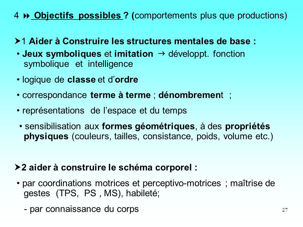 4  Objectifs possibles (comportements plus que productions)
