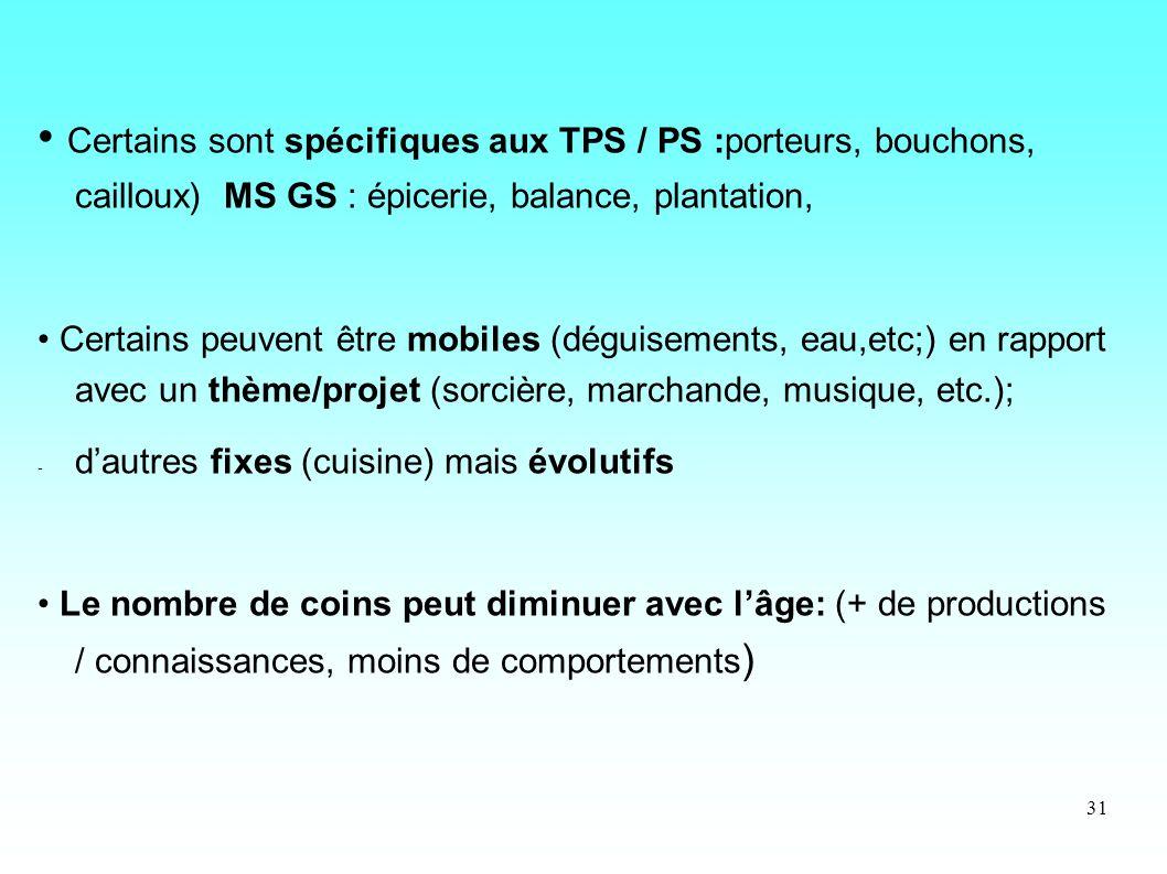 • Certains sont spécifiques aux TPS / PS :porteurs, bouchons, cailloux) MS GS : épicerie, balance, plantation,