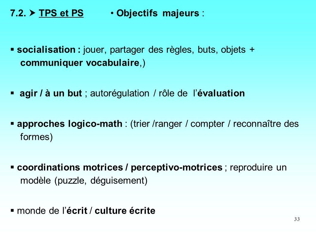 7.2.  TPS et PS • Objectifs majeurs :
