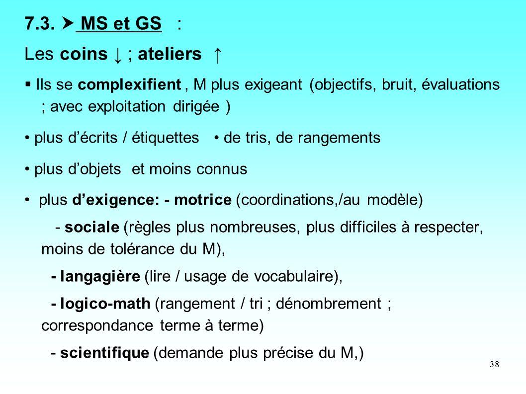 7.3.  MS et GS : Les coins ↓ ; ateliers ↑