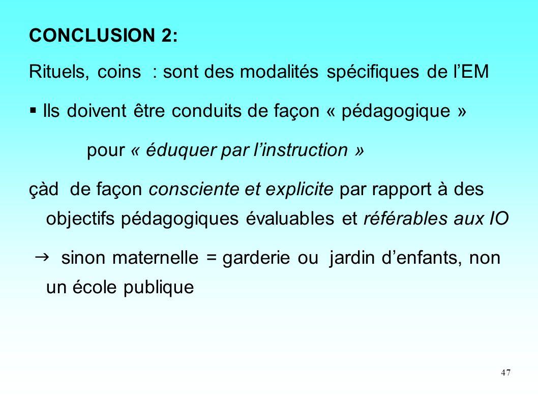 CONCLUSION 2: Rituels, coins : sont des modalités spécifiques de l'EM.  Ils doivent être conduits de façon « pédagogique »