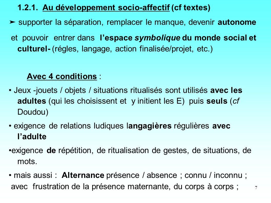 1.2.1. Au développement socio-affectif (cf textes)