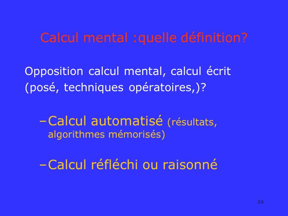 Calcul mental :quelle définition