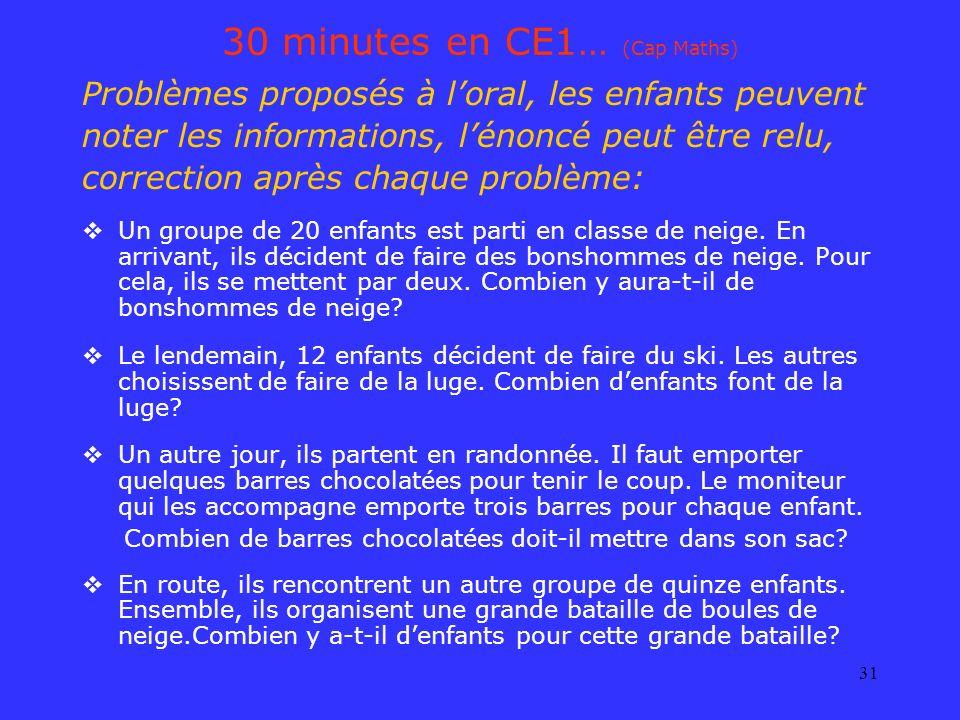 30 minutes en CE1… (Cap Maths)