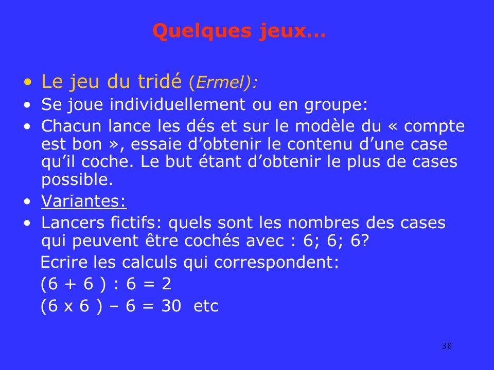 Le jeu du tridé (Ermel):