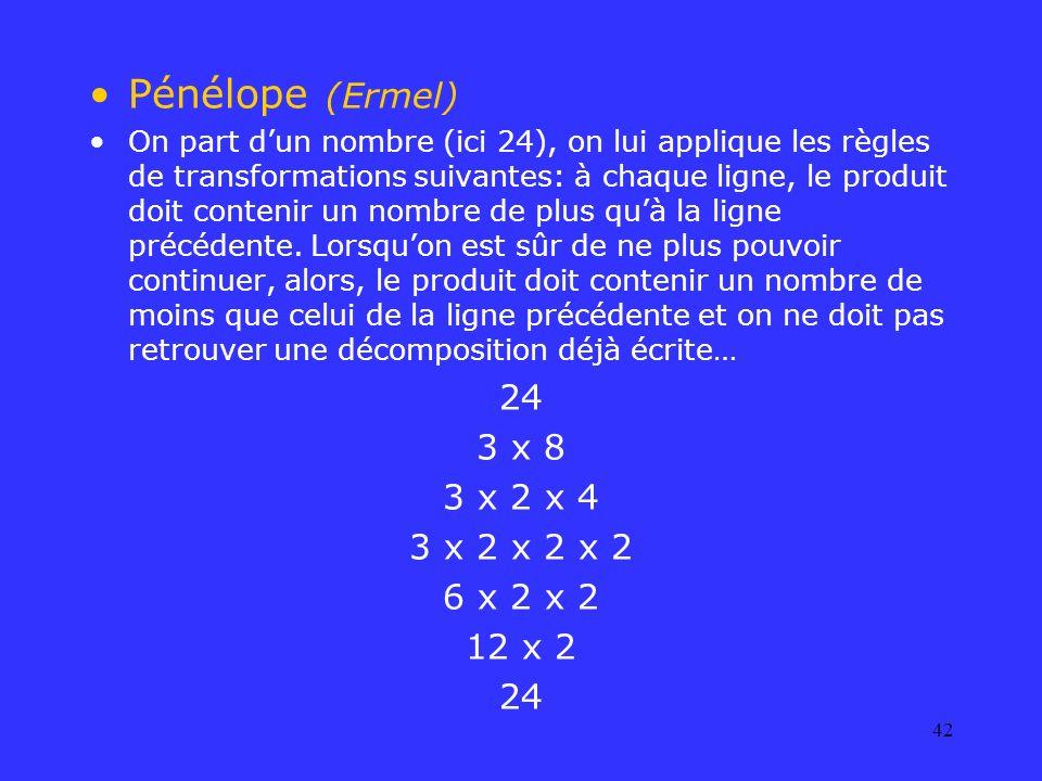 Pénélope (Ermel) 24 3 x 8 3 x 2 x 4 3 x 2 x 2 x 2 6 x 2 x 2 12 x 2