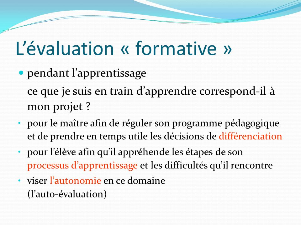 L'évaluation « formative »