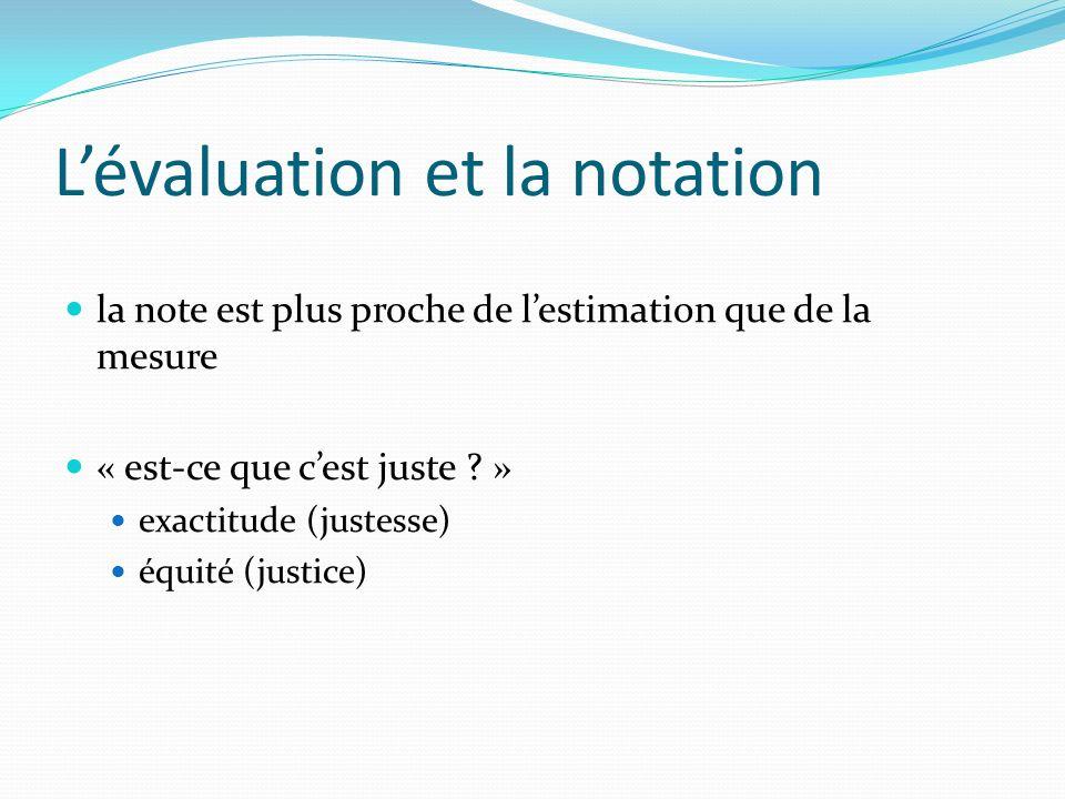 L'évaluation et la notation