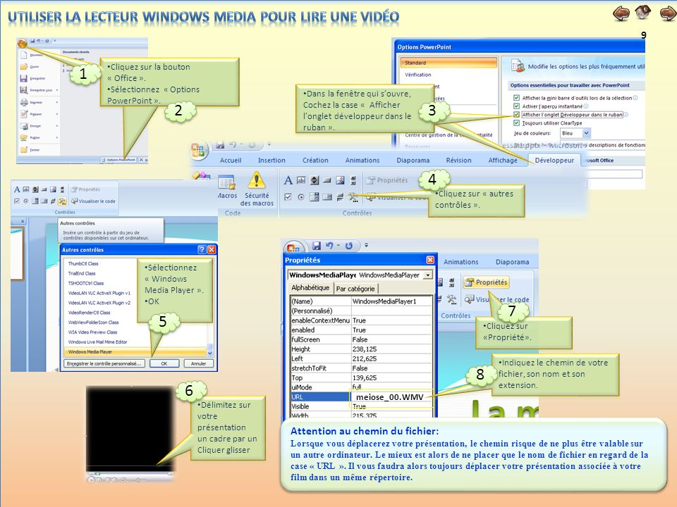 Utiliser la lecteur Windows Media pour lire une vidéo