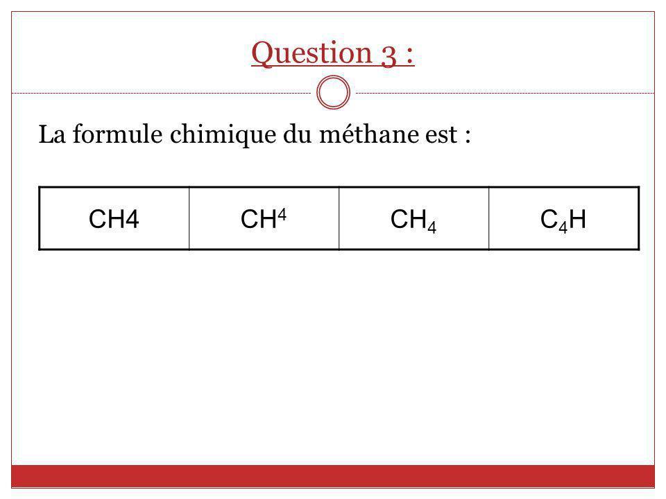 Question 3 : La formule chimique du méthane est : CH4 C4H