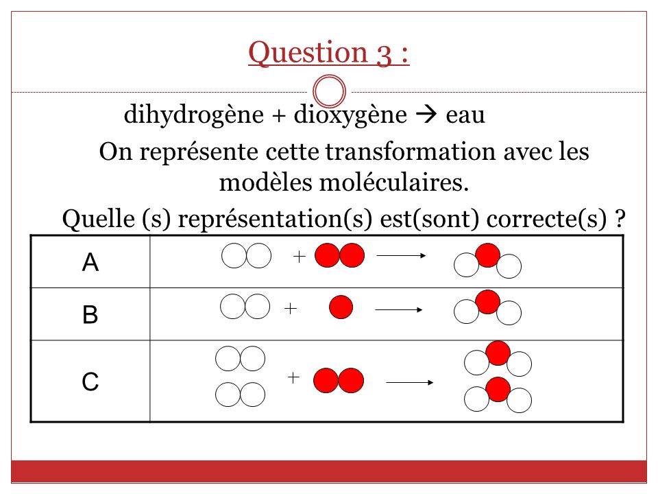 Question 3 : dihydrogène + dioxygène  eau A