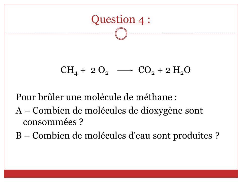 Question 4 : CH4 + 2 O2 CO2 + 2 H2O. Pour brûler une molécule de méthane : A – Combien de molécules de dioxygène sont consommées
