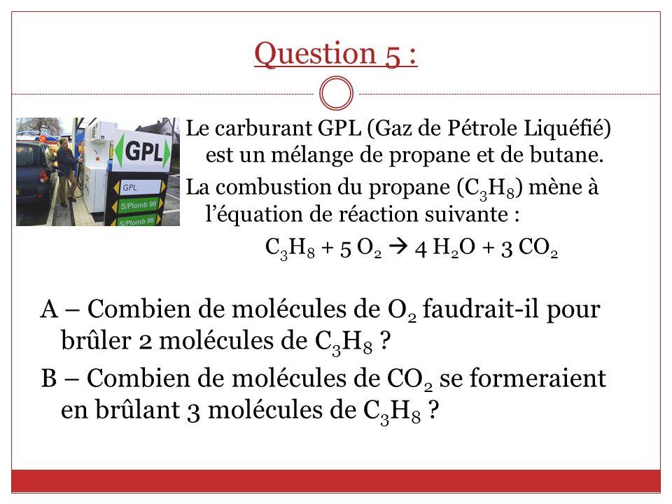 Question 5 : Le carburant GPL (Gaz de Pétrole Liquéfié) est un mélange de propane et de butane.