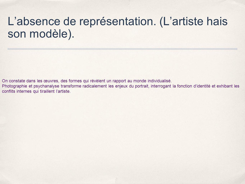 L'absence de représentation. (L'artiste hais son modèle).