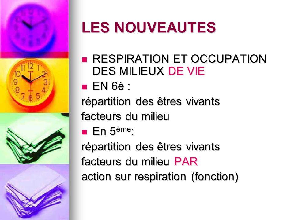 LES NOUVEAUTES RESPIRATION ET OCCUPATION DES MILIEUX DE VIE EN 6è :